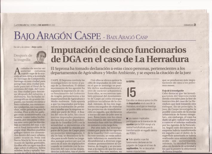 Imputación de cinco funcionarios de DGA en el caso de La Herradura
