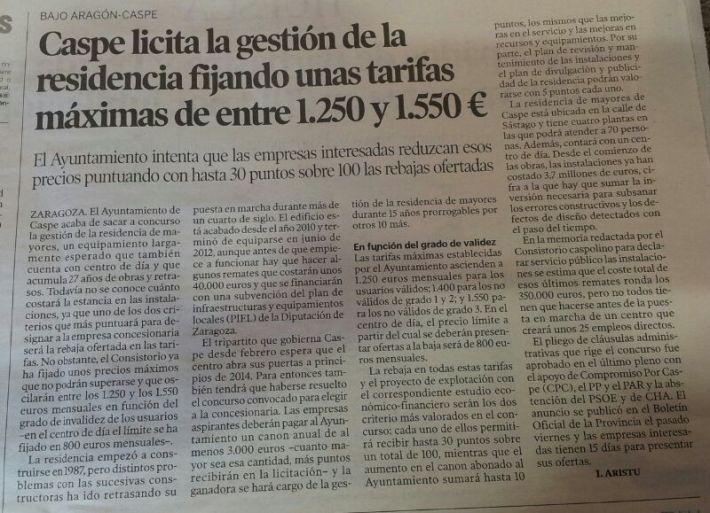 Caspe licita la gestión de la residencia fijando unas tarifas máximas de entre 1.250 y 1.550 €